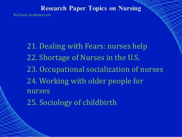 Research paper for nursing