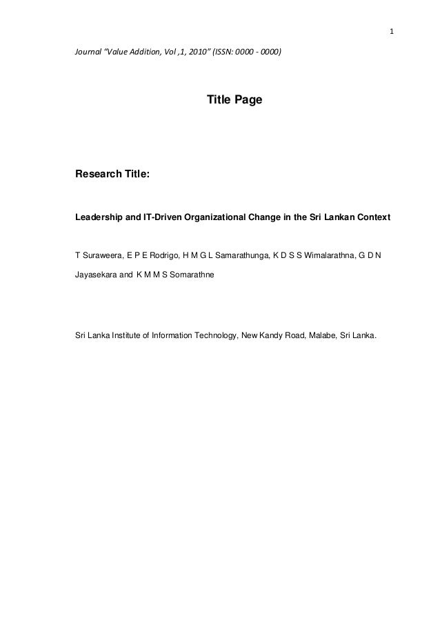 """1Journal """"Value Addition, Vol ,1, 2010"""" (ISSN: 0000 - 0000)                                     Title PageResearch Title:L..."""