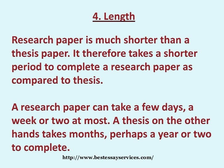 research paper versus thesis Thesis students will conduct a large research project, which will likely involve several semesters of work these students must write a thesis, which is a large document that is likely to be published.