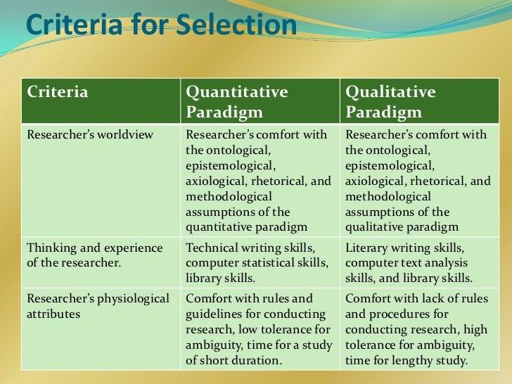 Criteria for SelectionCriteria                     Quantitative                   Qualitative                             ...