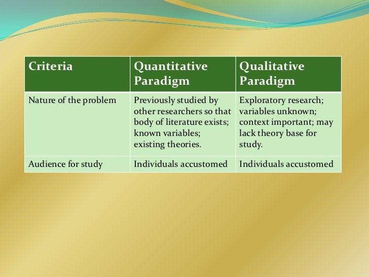Criteria                Quantitative                 Qualitative                        Paradigm                     Parad...