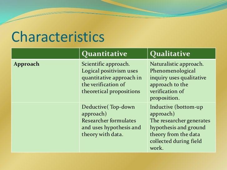 Characteristics           Quantitative               QualitativeApproach   Scientific approach.       Naturalistic approac...