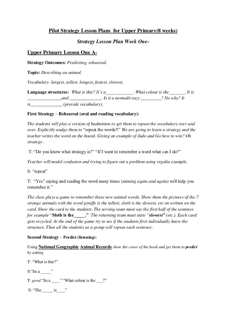 Pilot Strategy Lesson Plans  for Upper Primary(8 weeks)<br />Strategy Lesson Plan Week One-<br />Upper Primary Lesson One ...
