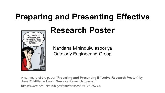"Preparing and Presenting Effective Research Poster A summary of the paper ""Preparing and Presenting Effective Research Pos..."