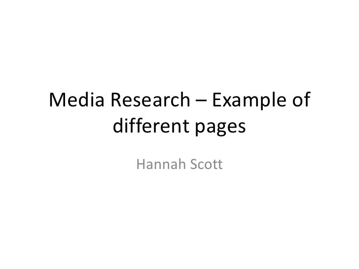 Media Research – Example of different pages<br />Hannah Scott<br />
