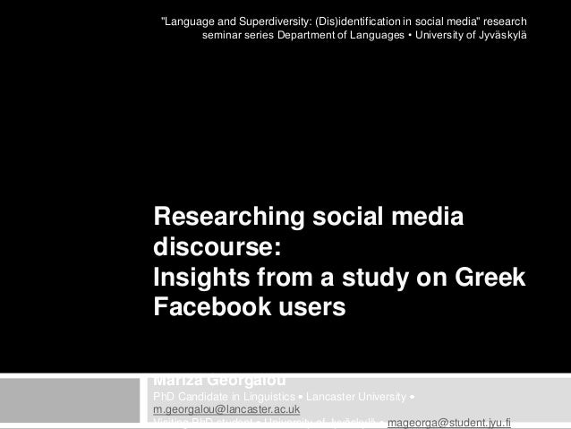 """Language and Superdiversity: (Dis)identification in social media"" research seminar series Department of Languages • Unive..."