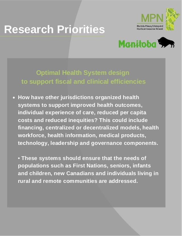 Research Priorities_______________________________________ How have other jurisdictions organized health systems to suppor...