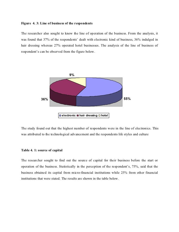 Figure 4. 3: Line of business of the respondentsThe researcher also sought to know the line of operation of the business. ...