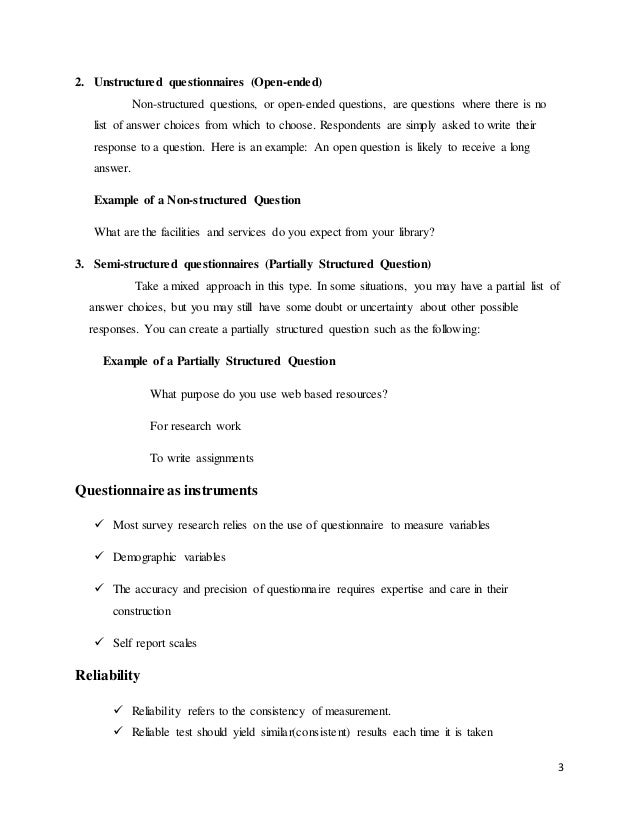 questionnaire  interview  observation and rating scale