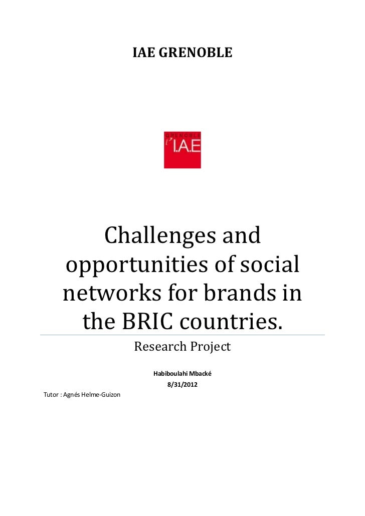 IAE GRENOBLE          Challenges and      opportunities of social      networks for brands in        the BRIC countries.  ...