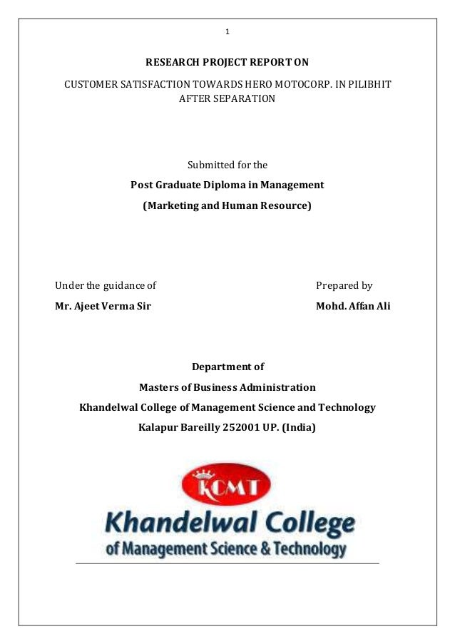 Research Project Report On 4Th Sem Of Mba