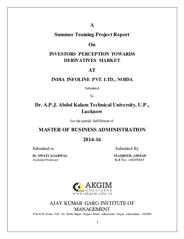 Research Project Report On Investors Perception Towards Derivative Ma…