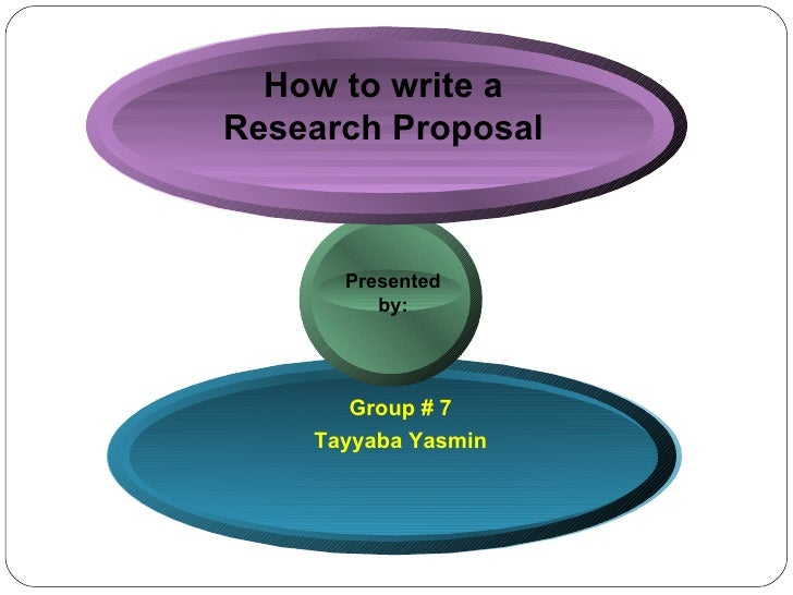 How to write a Research Proposal Group # 7 Tayyaba Yasmin Presented  by:
