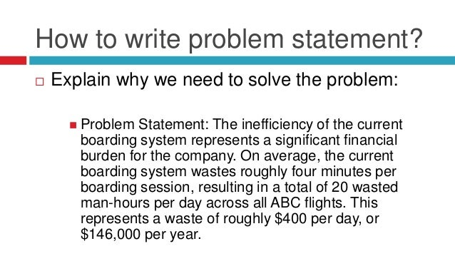 Write an effective problem statement