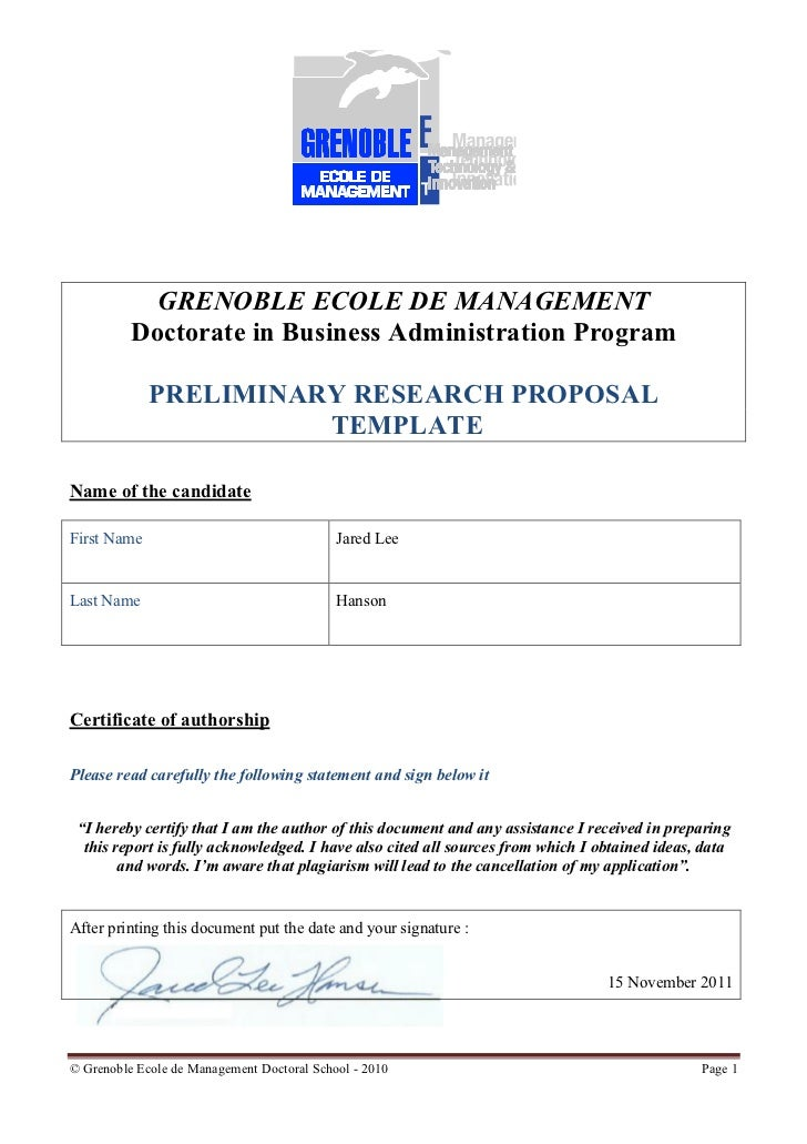 GRENOBLE ECOLE DE MANAGEMENT          Doctorate in Business Administration Program             PRELIMINARY RESEARCH PROPOS...
