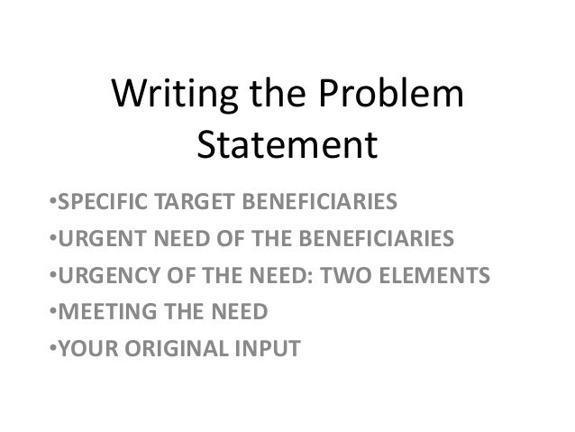 How to write a problem statement for engineering
