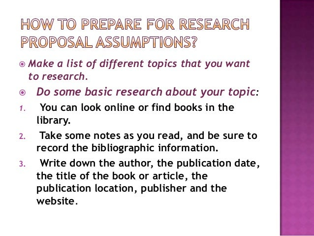 How to Write Assumptions for a Thesis