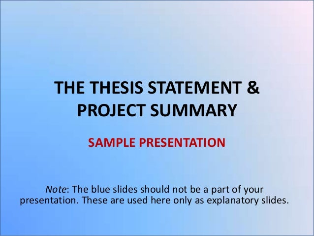 thesis statement proposal