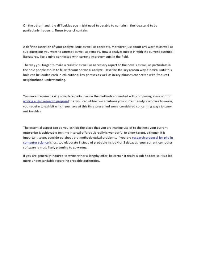 Writing phd research proposal computer science