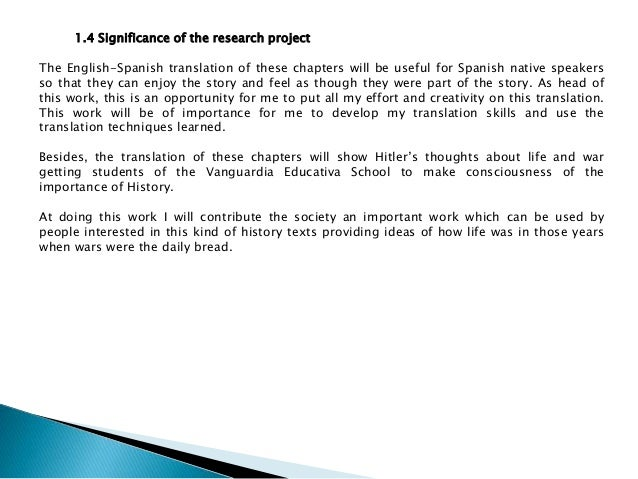 Research proposal for translation