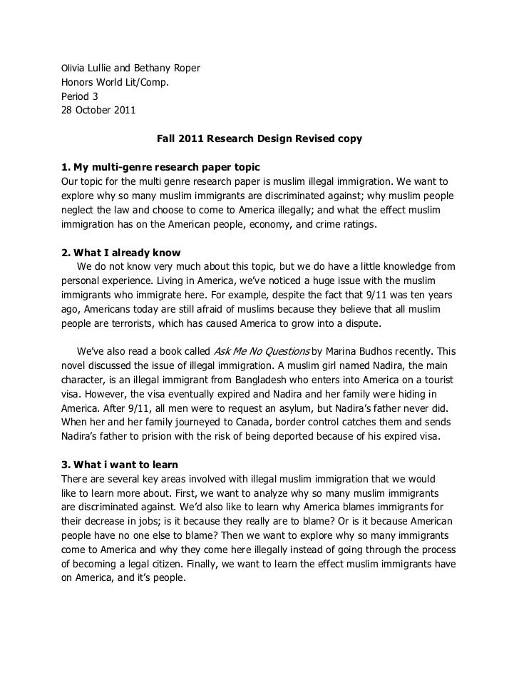 Research Proposal Fall 2011. Olivia Lullie And Bethany RoperHonors World  Lit/Comp.Period 328 October 2011 Fall 2011 ...
