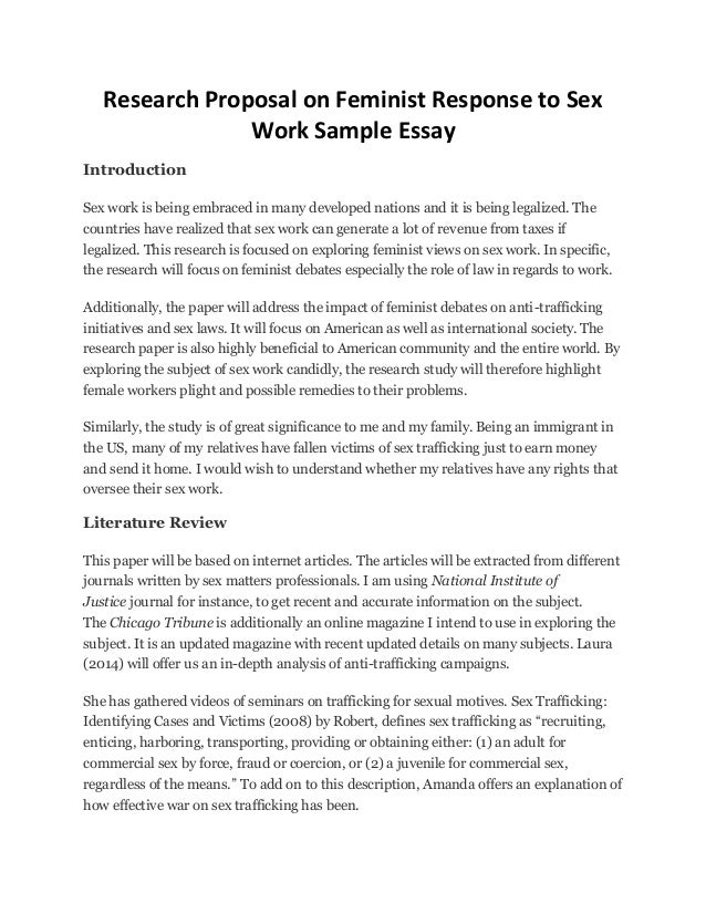 Persusive Essay Research Proposal On Feminist Response To Sex Work Sample Essay  Introduction Sex Work Is Being Embraced  Essays On Growing Up also Example Of Autobiography Essay Research Proposal On Feminist Response To Sex Work Sample Essay Arguement Essay
