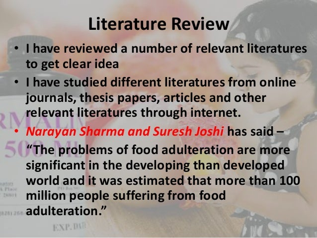 Thesis on food adulteration