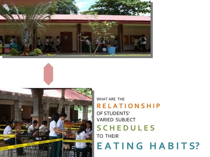 filipino students eating habits In spite how the cliché goes, food indeed is one thing that brings people together, especially the people and their filipino eating habitswe filipinos are known to be hospitable and friendly at all costs, using only one topic in mind for small talk food.