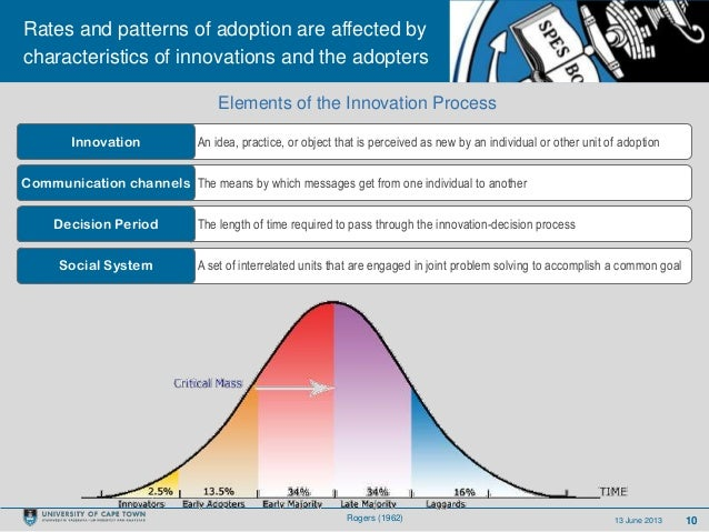 1013 June 2013Rates and patterns of adoption are affected bycharacteristics of innovations and the adoptersAn idea, practi...