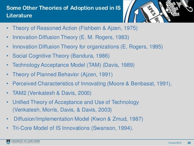 2013 June 2013Some Other Theories of Adoption used in ISLiterature• Theory of Reasoned Action (Fishbein & Ajzen, 1975)• In...