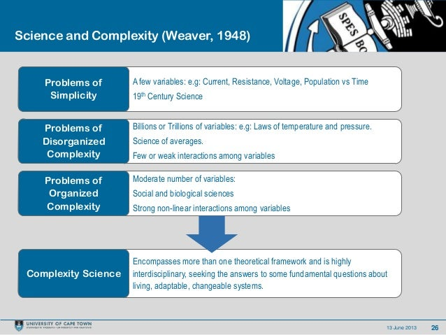 2613 June 2013Science and Complexity (Weaver, 1948)A few variables: e.g: Current, Resistance, Voltage, Population vs Time1...