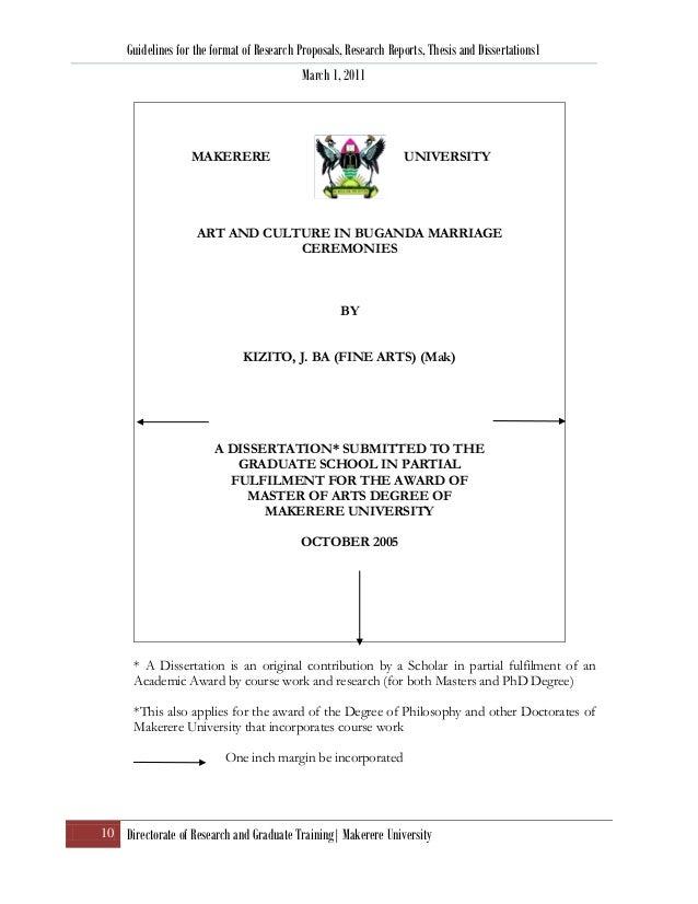 research proposal thesis format ver 4 april 2011 rh slideshare net Makerere University Courses Maseno University