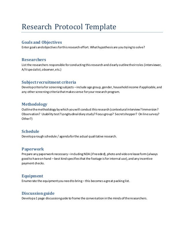 Research protocol template for Project protocol template