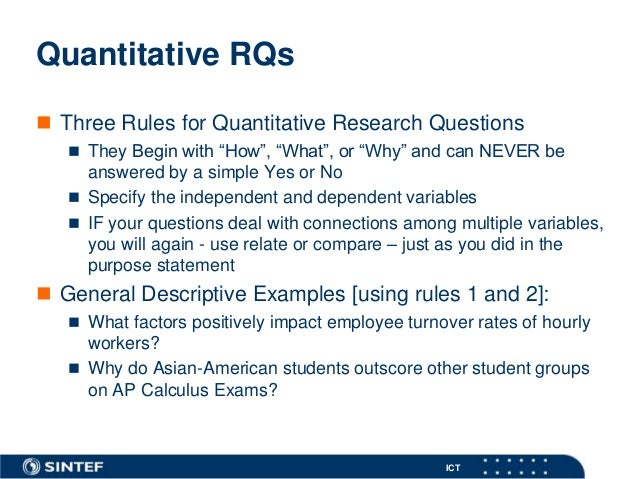 Writing research questions for quantitative research