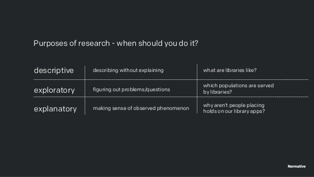 Purposes of research - when should you do it? descriptive exploratory explanatory describing without explaining figuring o...