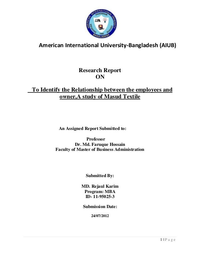 American International University-Bangladesh (AIUB)  Research Report ON To Identify the Relationship between the employees...