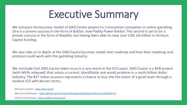 ICO Research Report - BET Token Issuance by DAO Casino