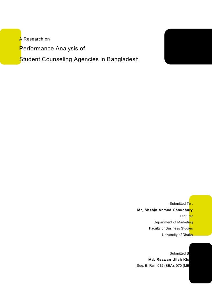 A Research onPerformance Analysis ofStudent Counseling Agencies in Bangladesh                                             ...