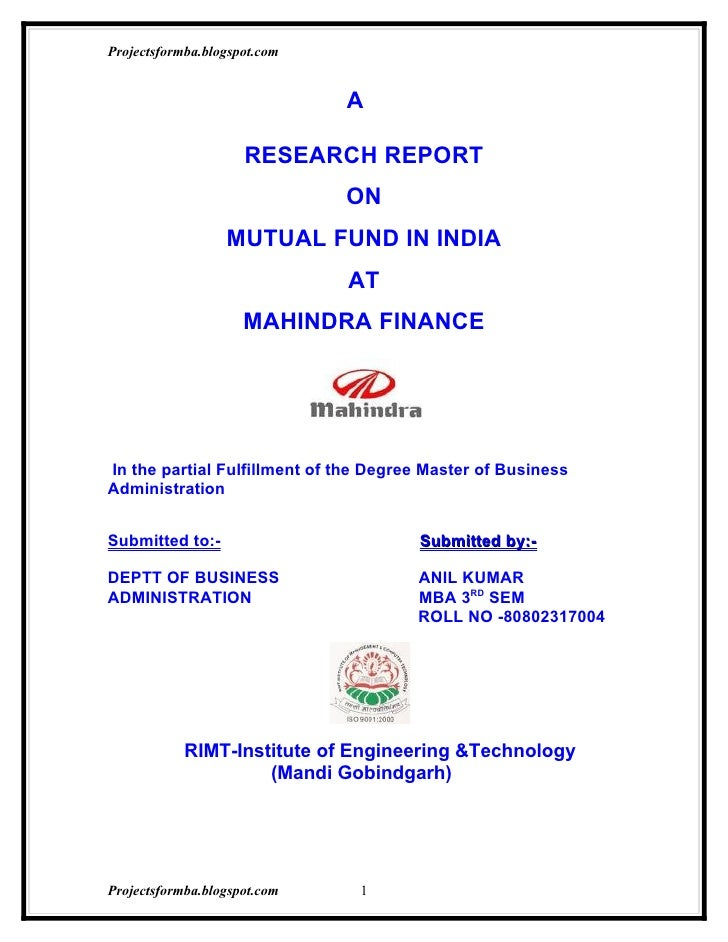 research thesis on mutual funds
