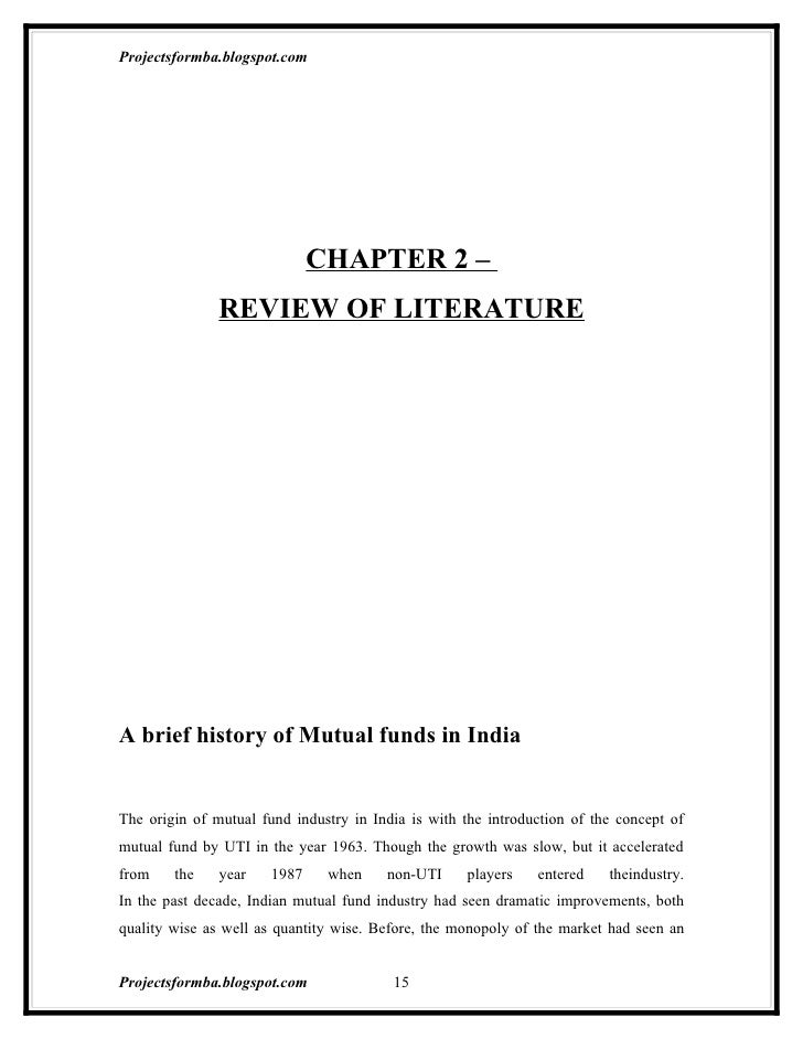 Research Report On Mutual Fund In India At Mahindra Finance