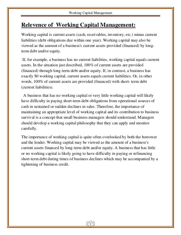 Working Capital Management Concepts Worksheet