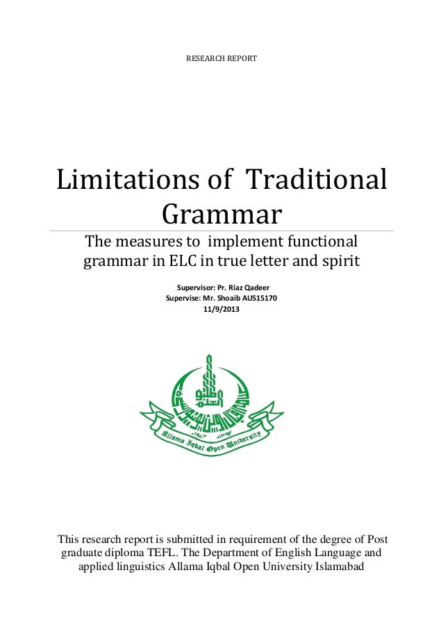 RESEARCH REPORT  Limitations of Traditional Grammar The measures to implement functional grammar in ELC in true letter and...