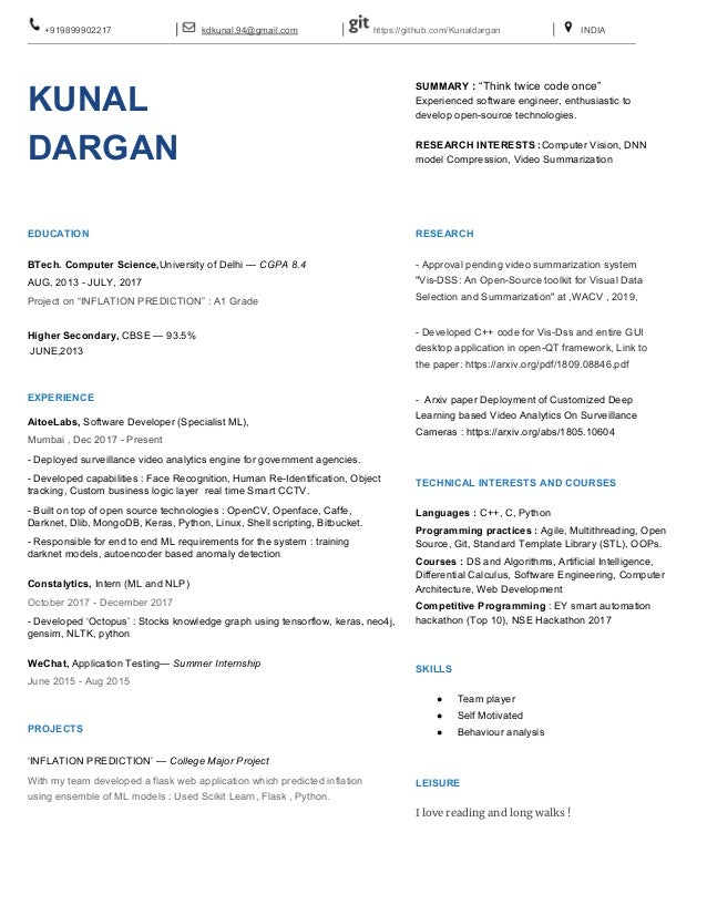 Kunal Dargan Resume