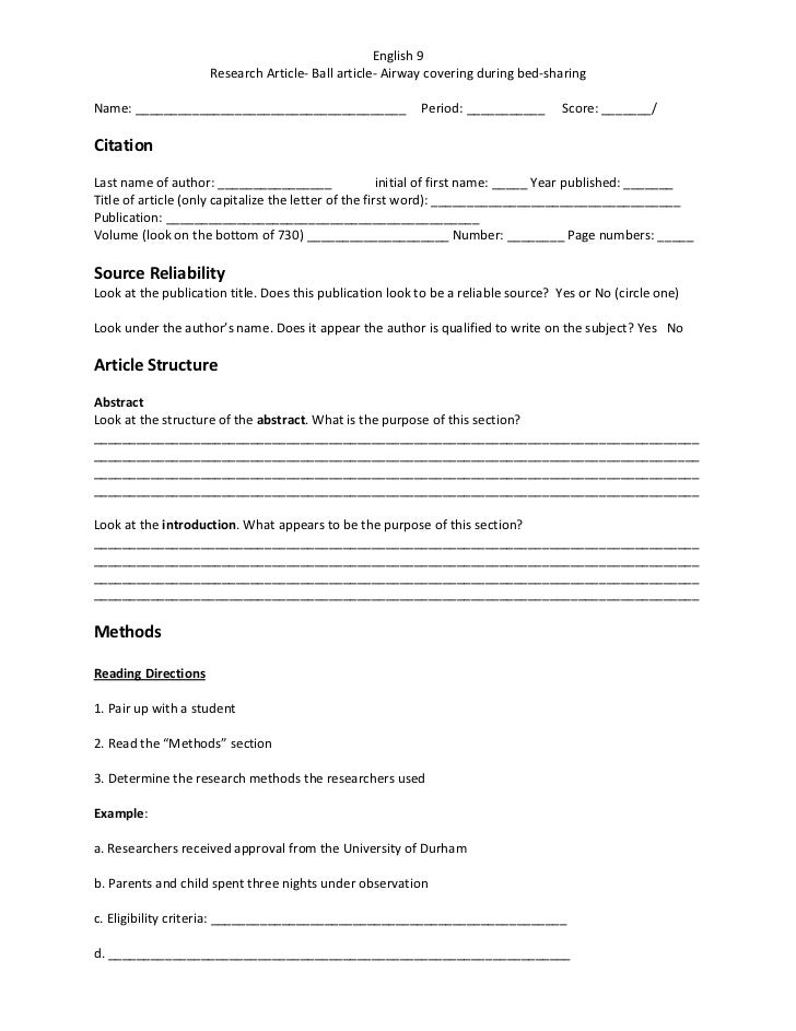 English 9                     Research Article- Ball article- Airway covering during bed-sharingName: ____________________...