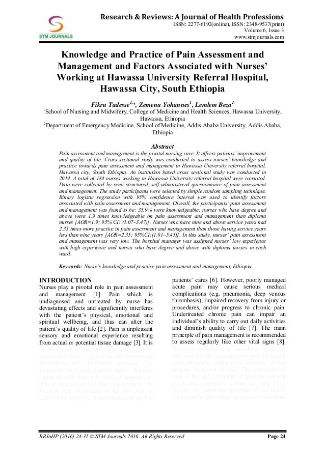 Research & Reviews A Journal of Health Professions vol 6 issue 3