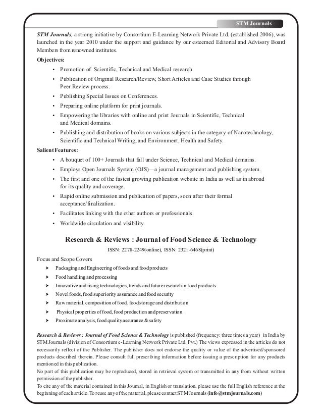 Research Reviews Journal Of Food Science Technology Vol 5 Issue 3