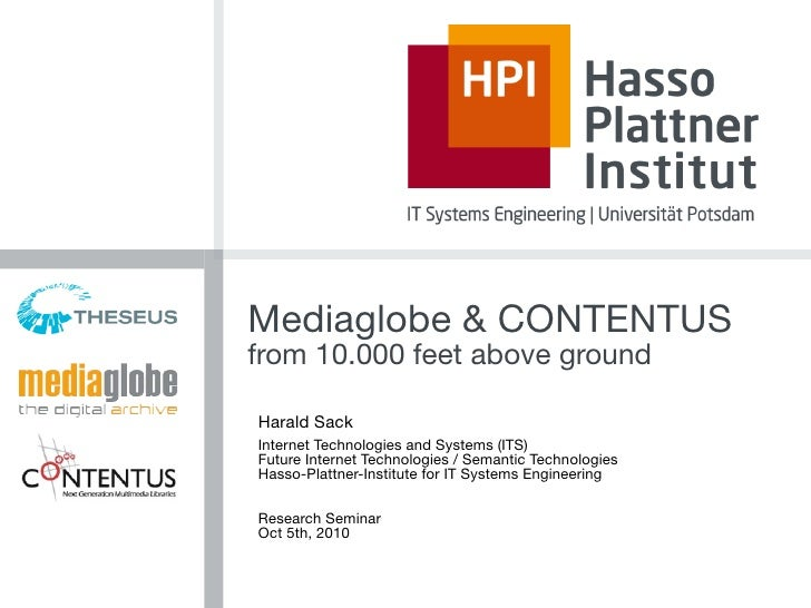 Mediaglobe & CONTENTUS from 10.000 feet above ground  Harald Sack Internet Technologies and Systems (ITS) Future Internet ...