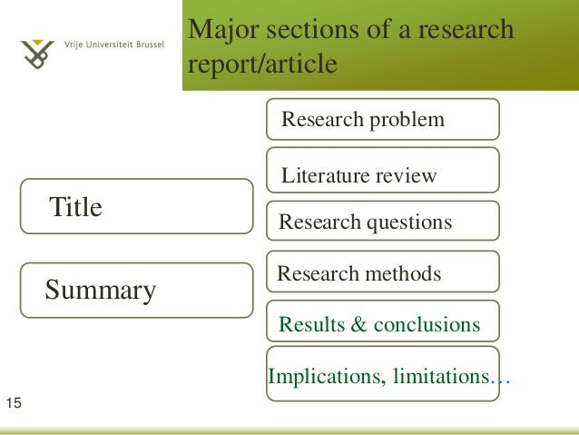 major sections of a research report