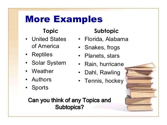 topics and subtopics examples