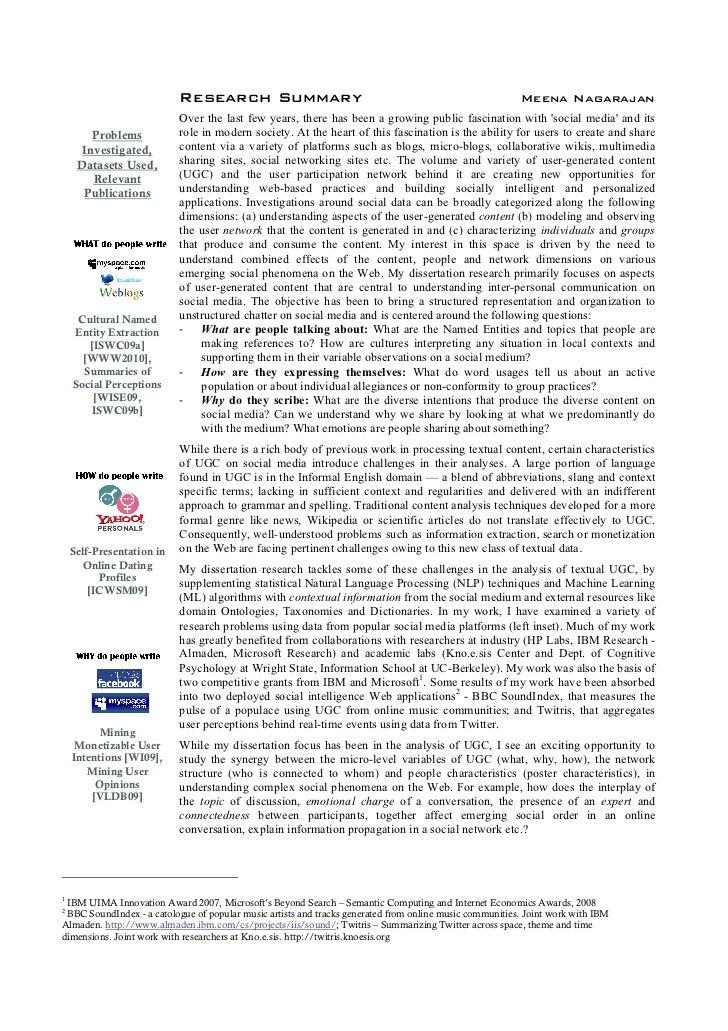 Research Summary                                                              Meena Nagarajan                            O...